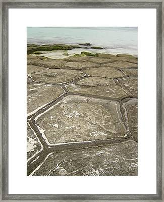 Natural Forming Pentagon Rock Formations Of Kumejima Okinawa Japan Framed Print