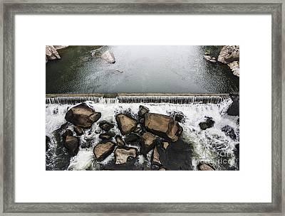 Nature Photograph Of Running Water Steam Framed Print