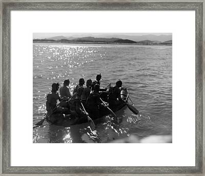 Navy Frogmen At Work Framed Print by Underwood Archives