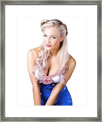 Navy Pinup Woman Framed Print by Jorgo Photography - Wall Art Gallery