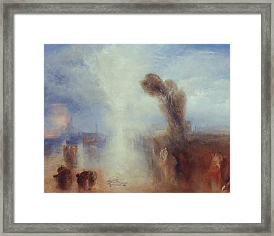 Neapolitan Fisher Girls Surprised Bathing By Moonlight Framed Print by Joseph Mallord William Turner