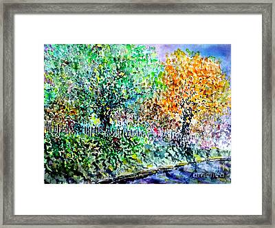 Framed Print featuring the painting Neighbours Garden by Alfred Motzer