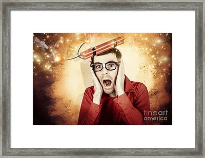 Nerd Business Man Shouting Out In Fear Of A Bomb Framed Print by Jorgo Photography - Wall Art Gallery