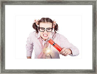 Nerd Business Woman Holding Exploding Time Bomb Framed Print by Jorgo Photography - Wall Art Gallery