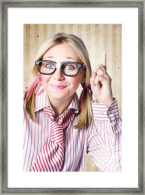 Nerd Female Salesman Pointing To Product Copyspace Framed Print by Jorgo Photography - Wall Art Gallery