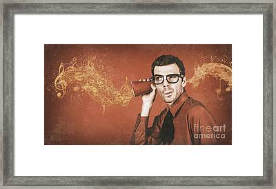 Nerd Man Listening To Live Music Flow At Pub Framed Print by Jorgo Photography - Wall Art Gallery