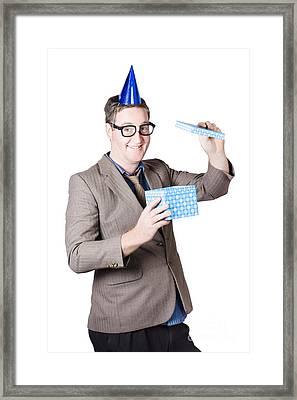 Nerd Man With Happy Birthday Present Framed Print by Jorgo Photography - Wall Art Gallery