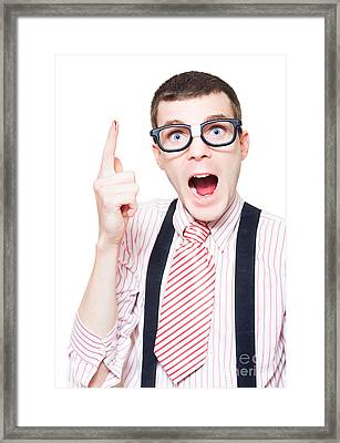 Nerd Pointing Up To Blank Copy Space With Papercut Framed Print
