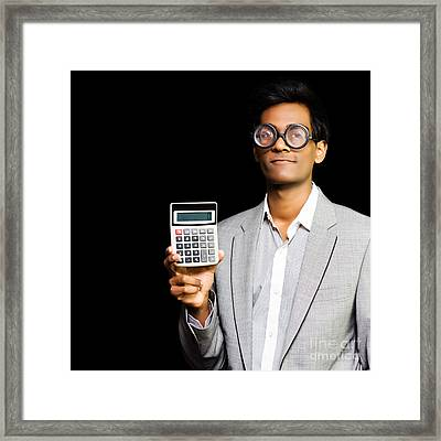 Nerdy Asian Accountant Or Maths Genius Framed Print by Jorgo Photography - Wall Art Gallery