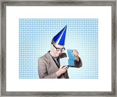 Nerdy Business Man Opening Surprise Present Framed Print