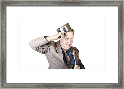 Nerdy Businessman With Cooking Utensils Framed Print