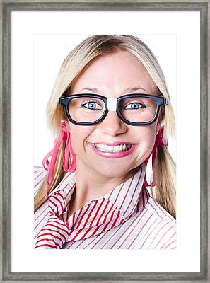 Nerdy Businesswoman With A Cheeky Grin Framed Print by Jorgo Photography - Wall Art Gallery