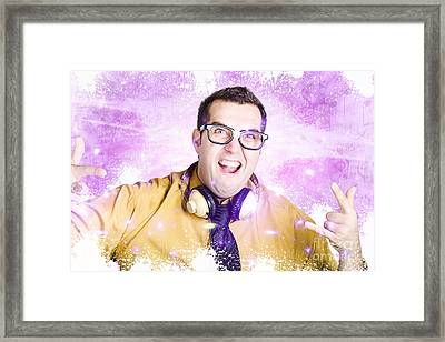 Nerdy Nightclub Dj Spinning A Music Mix Framed Print