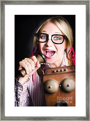 Nerdy Pr Business Person Making Announcement Framed Print