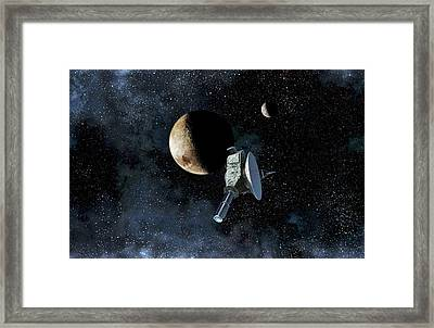 New Horizons At Closest Approach To Pluto Framed Print by Take 27 Ltd