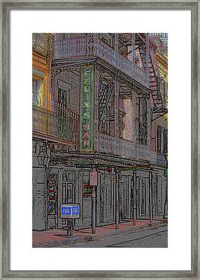 New Orleans - Bourbon Street With Pencil Effect Framed Print