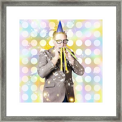 New Years Eve Man Celebrating At A Countdown Party Framed Print by Jorgo Photography - Wall Art Gallery
