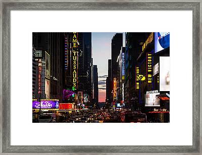 New York City At Night Framed Print by Alexander Mendoza
