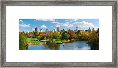 New York City Manhattan Central Park Panorama Framed Print