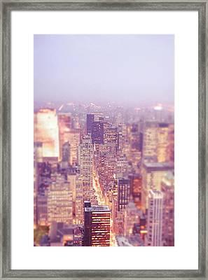 New York City - Skyline Lights At Dusk Framed Print