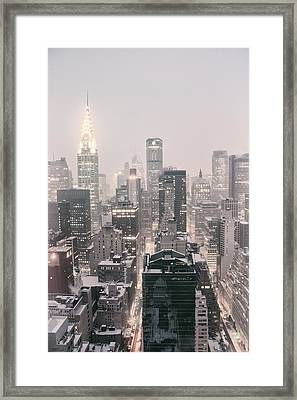 New York City - Snow Covered Skyline Framed Print by Vivienne Gucwa