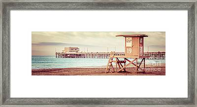 Newport Pier And Lifeguard Tower 19 Vintage Picture Framed Print