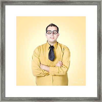 Nice Nerd Business Salesman On Yellow Background Framed Print by Jorgo Photography - Wall Art Gallery