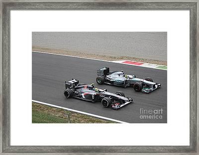 Nico Rosberg And Esteban Gutierrez Framed Print
