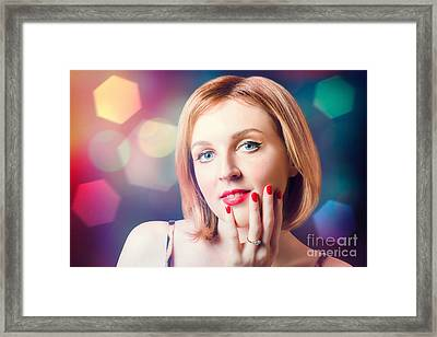 Night Fashion Photo. Beauty Model In Diamond Ring Framed Print by Jorgo Photography - Wall Art Gallery