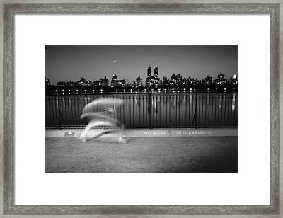 Night Jogger Central Park Framed Print