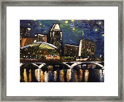 Night On The River Framed Print by Belinda Low