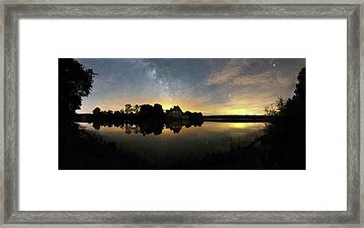 Night Sky Over A Lake Framed Print by Laurent Laveder