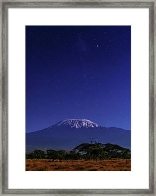 Night Sky Over Mount Kilimanjaro Framed Print by Babak Tafreshi