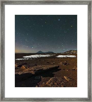 Night Sky Over The Licancabur Volcano Framed Print by Babak Tafreshi