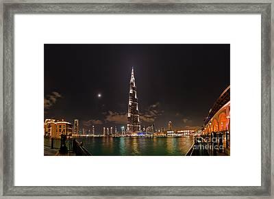 Night Skyline, Dubai, Uae Framed Print