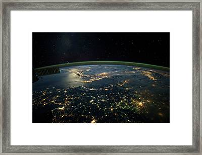 Night Time Satellite View Of Planet Framed Print