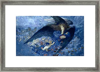 Night With Her Train Of Stars Framed Print