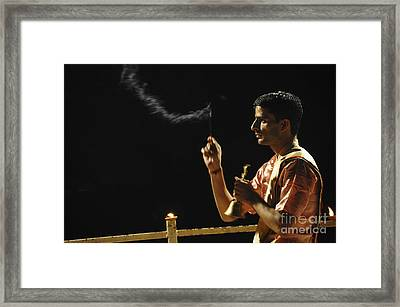 nightly Hindu Puja Rituals Framed Print by Judith Katz