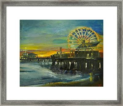 Framed Print featuring the painting Nighttime Pier by  Lindsay Frost