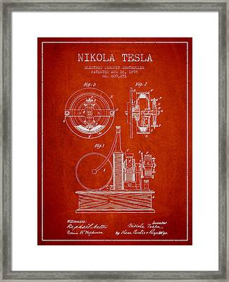 Nikola Tesla Electric Circuit Controller Patent Drawing From 189 Framed Print