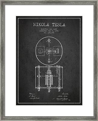 Nikola Tesla Patent Drawing From 1886 - Dark Framed Print