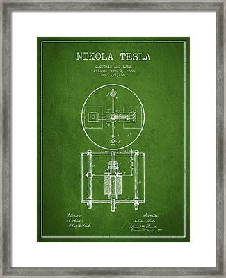Nikola Tesla Patent Drawing From 1886 - Green Framed Print