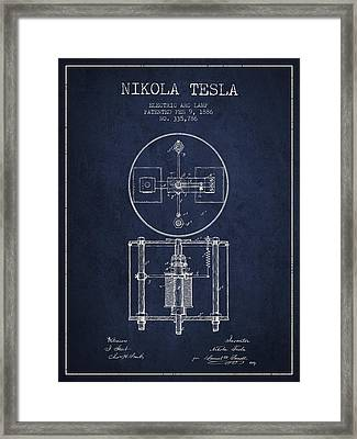 Nikola Tesla Patent Drawing From 1886 - Navy Blue Framed Print