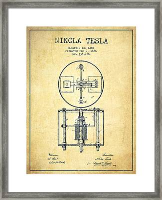 Nikola Tesla Patent Drawing From 1886 - Vintage Framed Print
