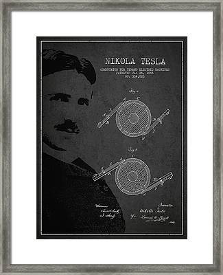 Nikola Tesla Patent From 1886 Framed Print