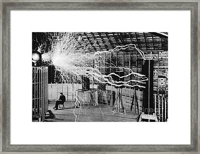 Nikola Tesla Serbian-american Inventor Framed Print by Science Source