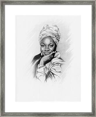 Nina Simone Framed Print by Gordon Van Dusen