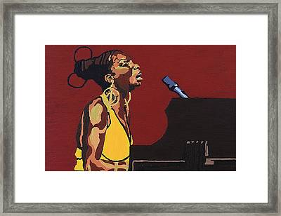 Framed Print featuring the painting Nina Simone by Rachel Natalie Rawlins