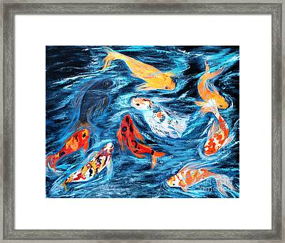 Framed Print featuring the painting Good  Luck Painting. Nine Koi Fish. Inspirations Collection. by Oksana Semenchenko
