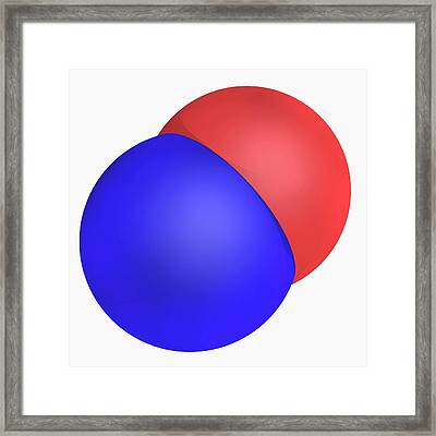 Nitrogen Monoxide Molecule Framed Print by Laguna Design/science Photo Library